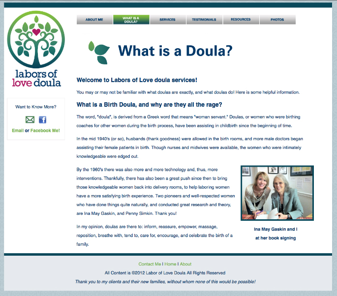 Nicole Tartaglia Labors of Love Doula Website